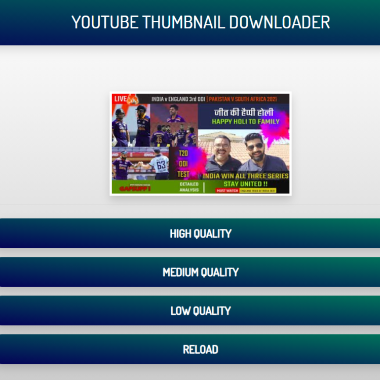 Youtube Video Thumbnail Downloader Browser Web App Script (Full Source Code)